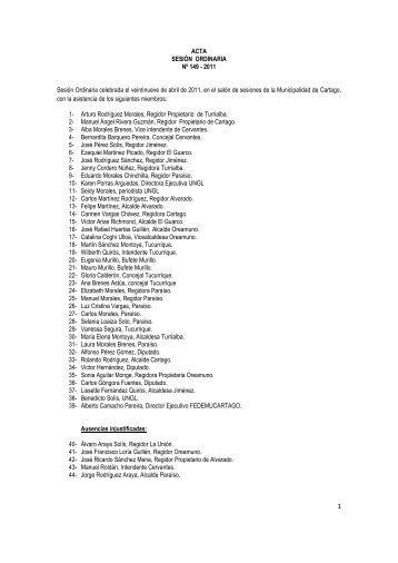 ACTA SESIÓN ORDINARIA Nº 149 - 2011 Sesión Ordinaria ...
