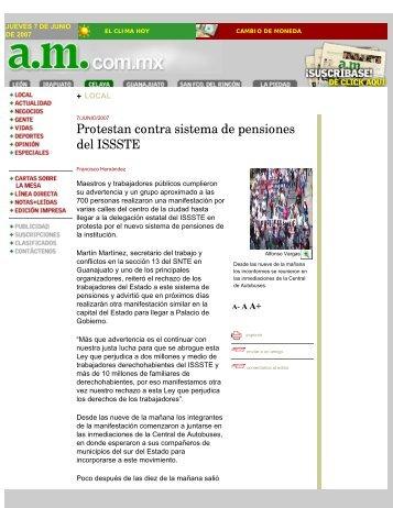 Protestan contra sistema de pensiones del ISSSTE