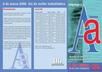 día da muller traballadora 8 de marzo 2006 - CIG