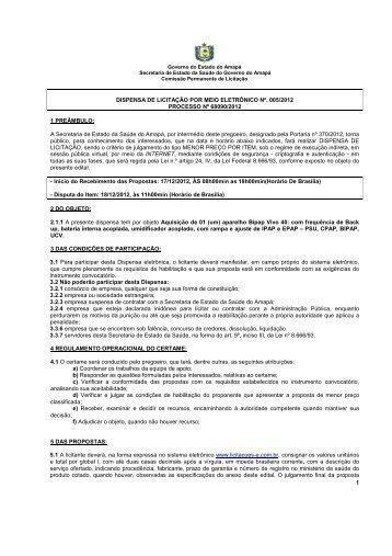 Edital Aparelho Bipap - Governo do Estado do Amapá