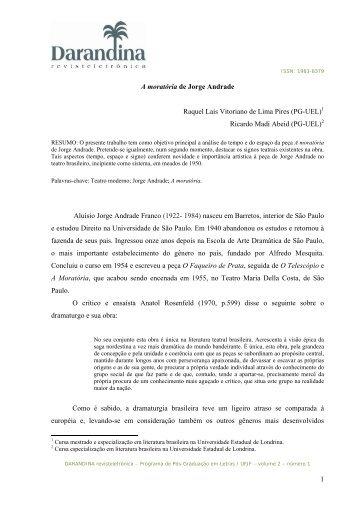 A moratória de Jorge Andrade - Universidade Federal de Juiz de Fora