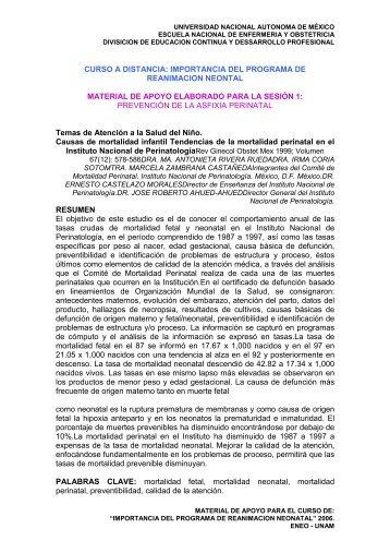 Tendencias de la mortalidad perinatal - ENEO - UNAM