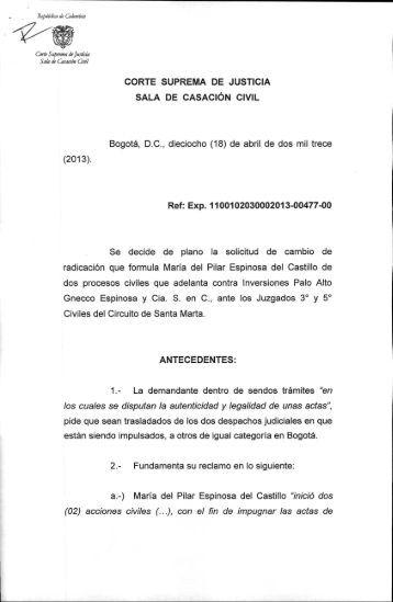 CAMBIO DE RADICACIÓN PROCESO CIVIL - Corte Suprema de ...