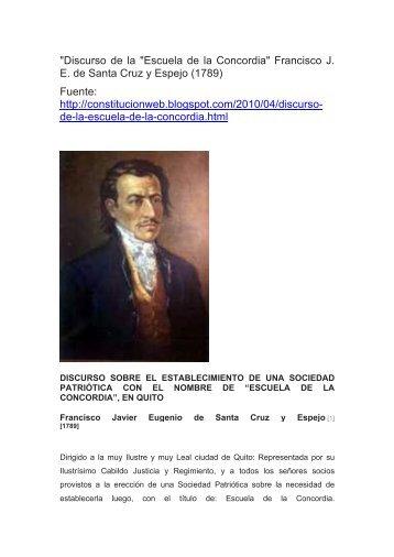 Eugenio Espejo – Discurso de la Escuela de la Concordia