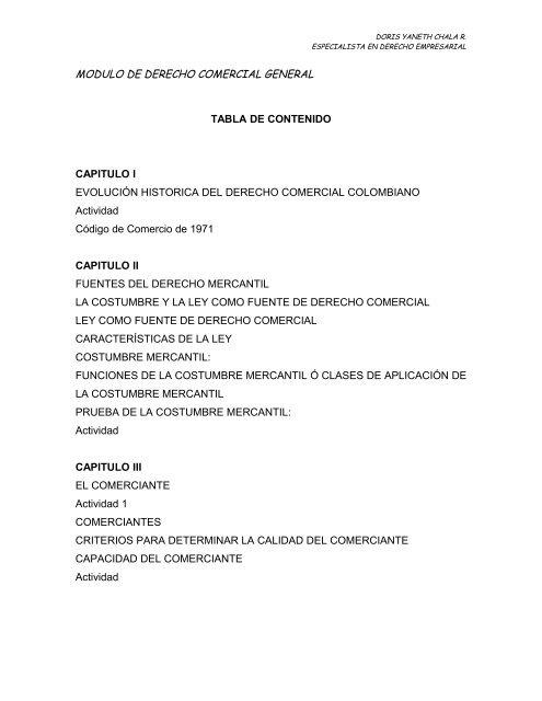 Modulo De Derecho Comercial General Tabla De