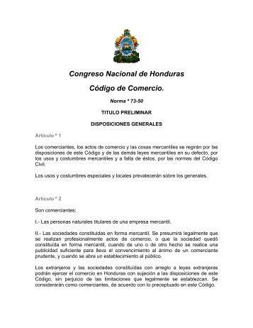 Congreso Nacional de Honduras Código de Comercio.