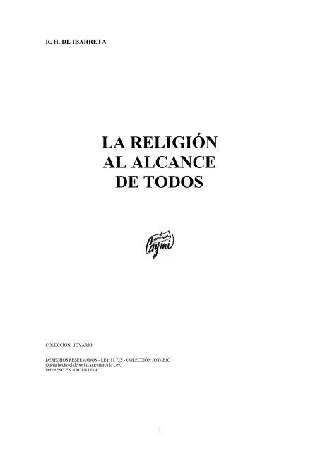 Ibarreta, R. - La religión al alcance de todos