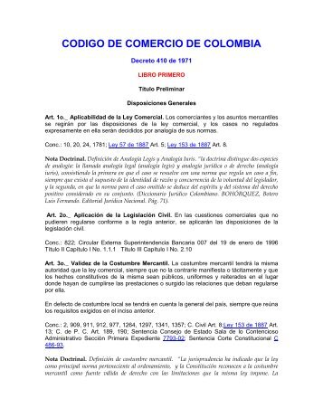CODIGO DE COMERCIO DE COLOMBIA - Cámara de Comercio del ...