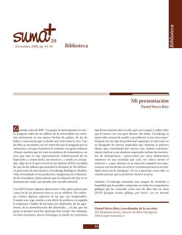 Mi biblioteca particular - SUMA Revistas de matemáticas