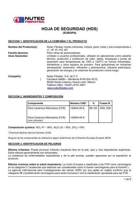 Hds Manta Modulos Granel Tiras Europa Pdf Nutec Fibratec