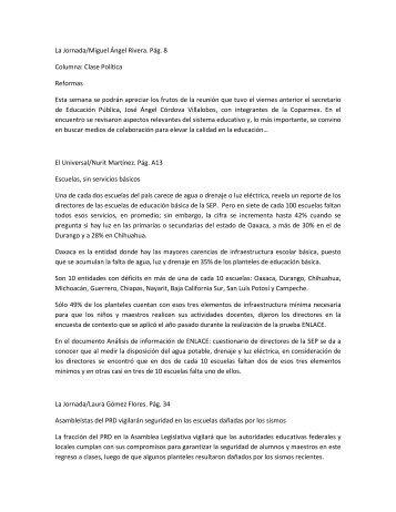 La Jornada/Miguel Ángel Rivera. Pág. 8 Columna: Clase Política ...