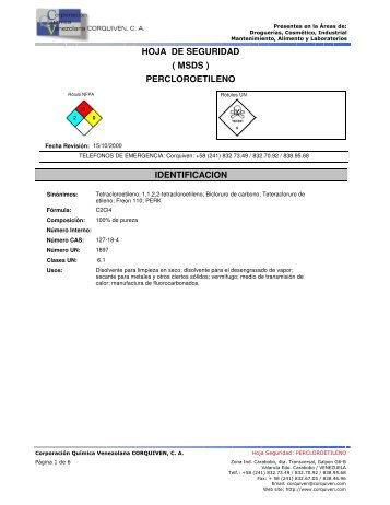 hoja de seguridad percloroetileno ( msds ) identificacion
