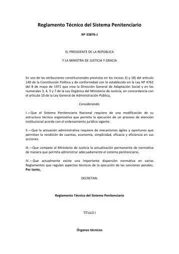 Reglamento Técnico del Sistema Penitenciario - Ministerio Público