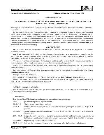 Normas Oficiales Mexicanas SCFI NOM-034-SCFI-1994 1 Fuente ...