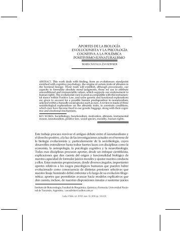 aportes de la biología evolucionista y la psicología ... - Ludus Vitalis