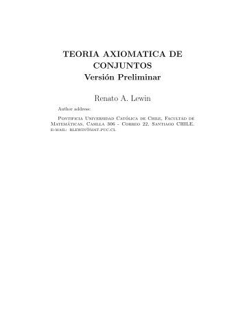 TEORIA AXIOMATICA DE CONJUNTOS - Facultad de Matemáticas ...