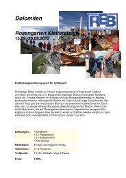 Dolomiten Rosengarten Klettersteige 15.09. - Reiseecke Bielefeld