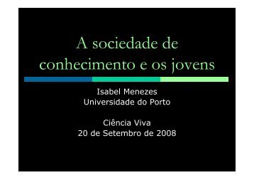 PARTICIPAÇÃO CÍVICA – Isabel Menezes - Ciência Viva