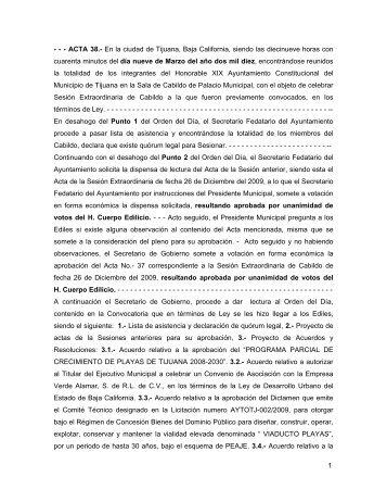 1 - - - ACTA 38.- En la ciudad de Tijuana, Baja California, siendo las ...