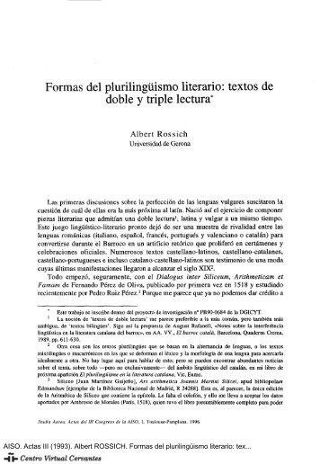 Formas del plurilingüismo literario: textos de doble y triple lectura