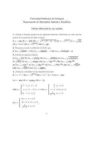 Cálculo diferencial de una variable. - Universidad Politécnica de ...