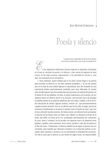 Poesía y silencio - Universidad Autónoma del Estado de México