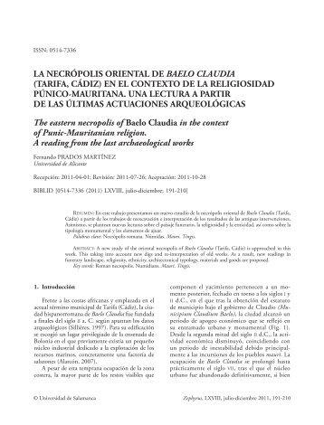 La necrópolis oriental de Baelo Claudia (Tarifa, Cádiz) - RUA ...