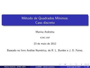 Método de Quadrados Mínimos: Caso discreto - ICMC - USP
