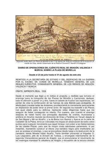 diario de operaciones de cabrera, morella 1838 - aulamilitar.com