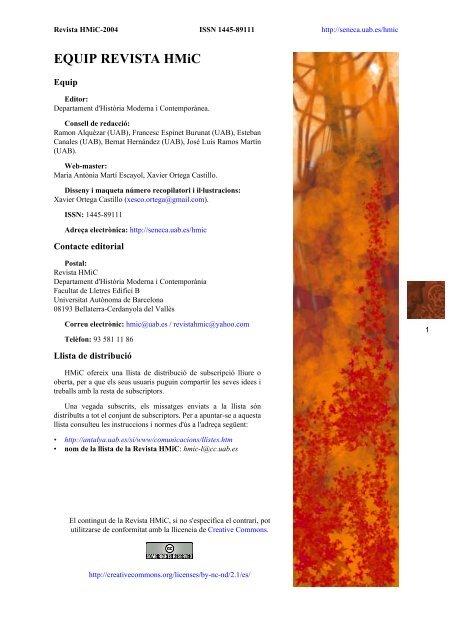 Equip Revista Hmic Universitat Autònoma De Barcelona