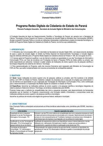 Edital 03/2013: Redes Digitais - Fundação Araucária