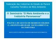 """II Seminário """"O Meio Ambiente e a Indústria Paranaense"""" - Fiep"""