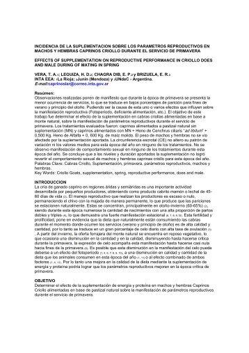 INCIDENCIA DE LA SUPLEMENTACION SOBRE ... - ovinos-caprinos