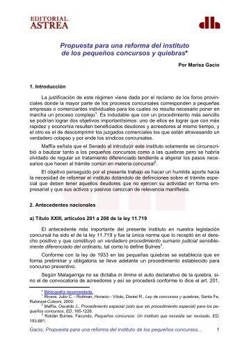 Propuesta para una reforma del instituto de los ... - iProfesional