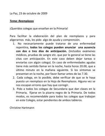 La Paz, 23 de octubre de 2009 Tema: Reemplazos ¡Queridos ...