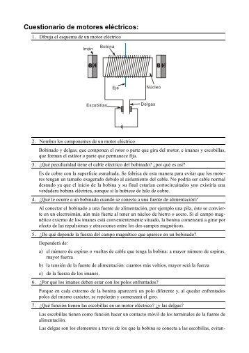 Cuestionario de motores eléctricos: