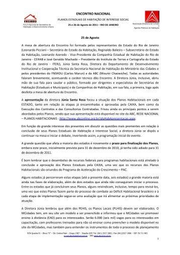 encontro nacional - Associação Brasileira de COHABs e Agentes ...