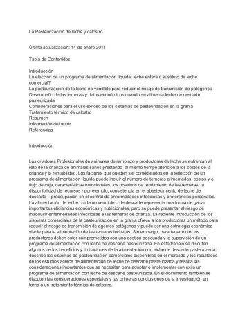 La Pasteurizacion de leche y calostro Última ... - Dairy Tech Inc.