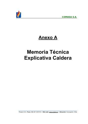 Memoria Técnica Explicativa Caldera