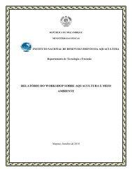 relatório do workshop sobre aquacultura e meio ambiente