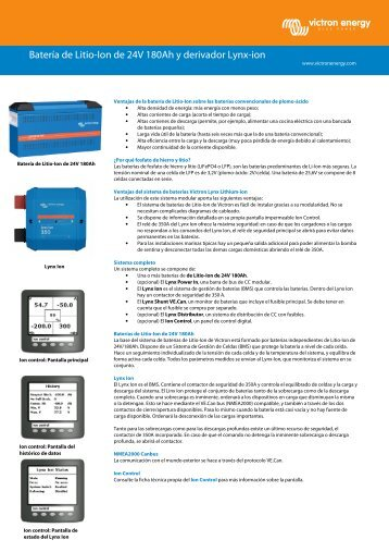 24 Volt 180Ah Lithium-ion battery and Lynx-ion - Victron Energy