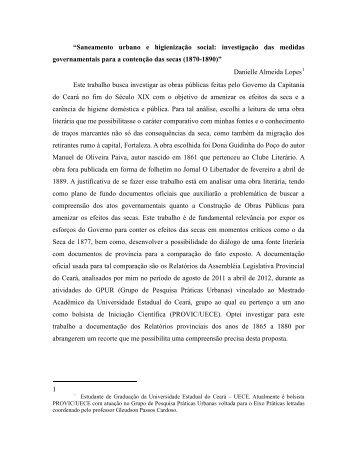 """""""Saneamento urbano e higienização social: investigação ... - anpuh"""