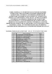 TABEL NOMINAL CU STUDENğII FACULTĂğII DE INGINERIE ...