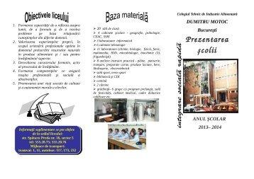 Oferta educationala 2013 - Colegiul Tehnic De Industrie Alimentara