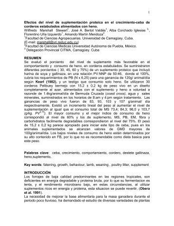 Efectos del nivel de suplementación proteica en - Universidad de ...