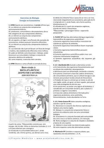 Exercícios de Biologia Energia no Ecossistema - Projeto Medicina
