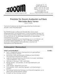 Preisliste Zooom-Ausbauten auf Basis Mercedes-Benz Vaneo