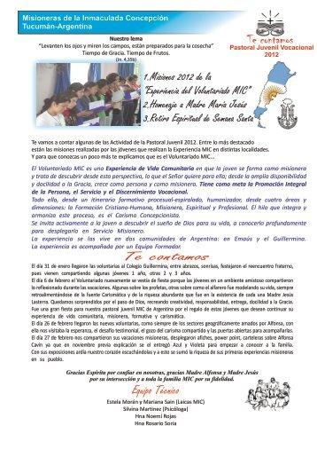 Boletin1- 2012 - Misioneras de la Inmaculada Concepción