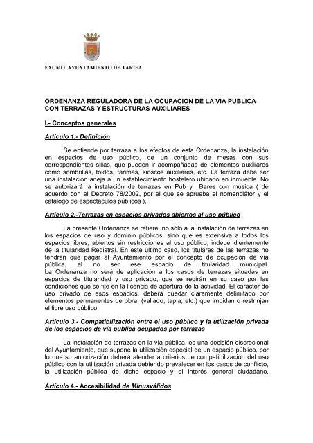 Ordenanza Municipal Sobre Terrazas Ayuntamiento De Tarifa