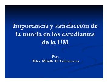 Importancia y satisfacción de Importancia y satisfacción de la tutoría ...